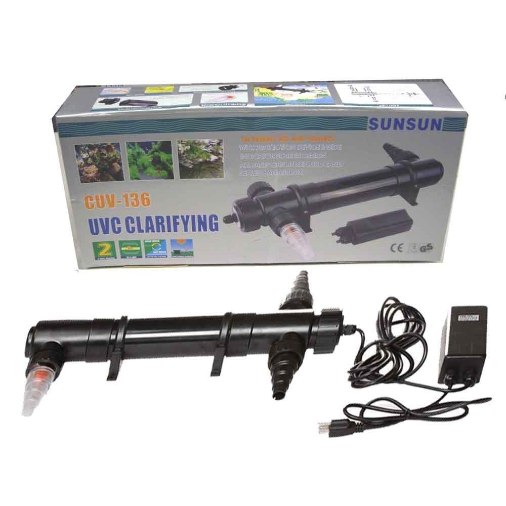 1375GPH Pump 36W UV Sterilizer Light Clarifier Pond Aquarium Fish Tank Filter