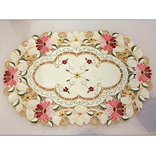 yazi Victoria Style Embroidered Daisy Flower Beige Table Doily Mother's Day Gift, Pack of (Embroidered Mat Standard)