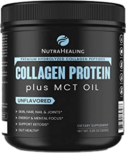 Recovery Collagen Protein Powder with MCT Energy Oil + Magnesium | Essential Amino Acids BCAA | muscle, skin, hair & joints. Ideal for Low Carbs Diet | Sugar Free, Dairy Free, Gluten Free – Unflavored