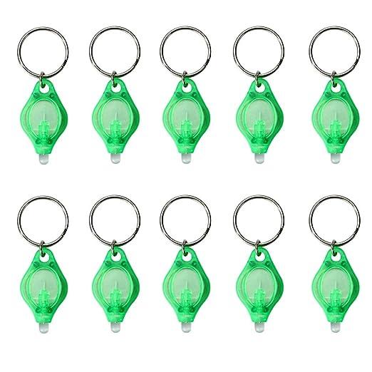 Ogquaton Mini Linterna Llave de luz LED Cadena de Llavero pequeño Ligero Mini Llavero móvil Verde