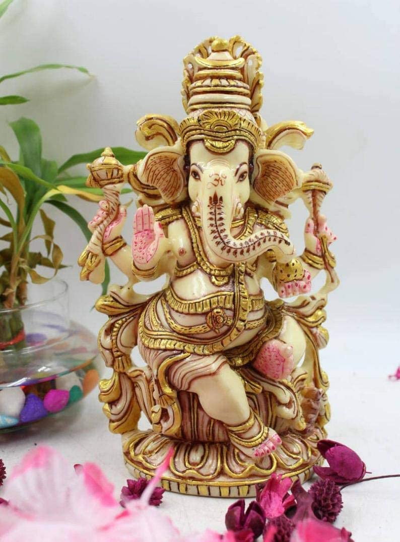 Truesellershop Lord Ganesh Statue/Ganesha Statue in Antique Finish Hindu God Figurine Temple Feng Shui Decor Unique Gifts Yoga Statue 8 Inches