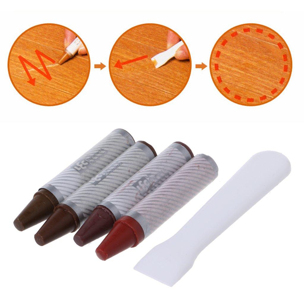 LANDUM 4PCS Furniture Marker Crayons Repair Kit Wood Touch Up Scratch Filler Remover