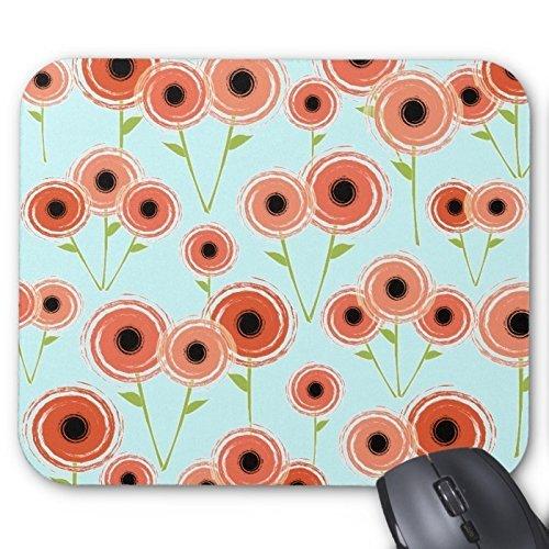 Poppy Coral (URDesigner Mousepad Mod Retro Coral Poppy Flower Blue Sky Print Mouse Pad Desktop Mousepad Laptop Mousepads Comfortable Table Desk Computer Mouse Mat Cute Gaming Mouse Pad)