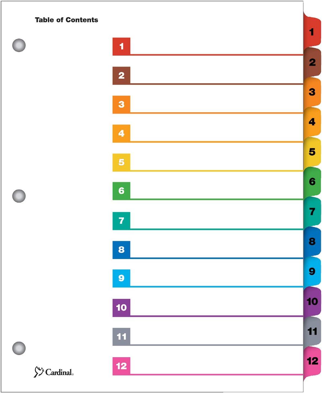 Cardinal OneStep Index System, 12-Tab, Numbered, Multi-Color, 1 Set (61218)
