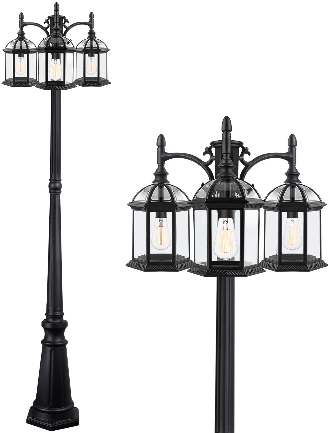 PARTPHONER 3-Head Outdoor Lamp Post Light Birdcage, Waterproof Outside Black Street Light Pole with Clear Glass Shade for Yard, Garden, Patio, Path, Driveway