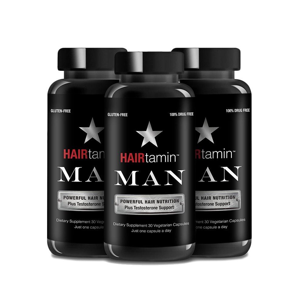 HAIRtamin Man Hair Growth Vitamins - Best Mens Biotin Fast Hair Growth Formula Vitamin Supplement for Thicker Fuller Healthier Hair and Beard Natural Daily Multi Vitamins (3 Month - 90 Capsules)