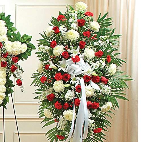 PlantShed - Deepest Sympathies Red & White Standing Spray - Flower Hand Delivery in NYC Local Manhattan (Funeral Wreath)