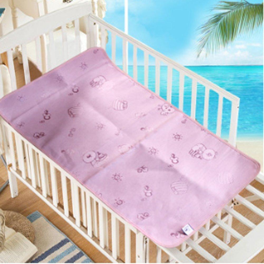 Baby Summer Sleeping Mat Breathable Safe Cool Bamboo Silk Flat Mattress Pads Toddler Infant Folding Bedding Cushion Crib Cot Cozy Nap Pads (Pink)