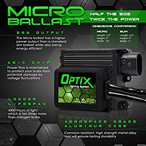 Optix Motorcycle 55W HID Xenon Headlight Conversion Kit Micro Slim Digital Ballasts Bulb - H7 / H11 Bulbs - Headlight High Beam Combo - 3000K 5000K 6000K 8000K 10000K Pink Purple
