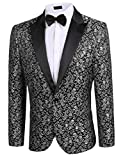 Donet Men's Floral Party Dress Suit Notched Lapel Stylish Dinner Jacket Wedding Blazer Prom Tuxedo Gray XX-Large