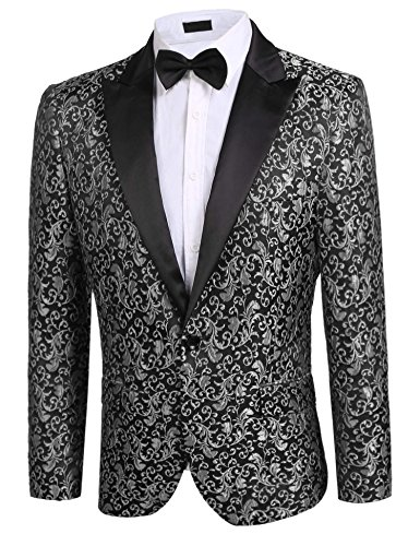 Donet Men's Floral Party Dress Suit Notched Lapel Stylish Dinner Jacket Wedding Blazer Prom Tuxedo Gray XX-Large by Donet