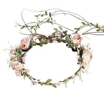 iBelly Blumenkranz Blumenkrone Braut Stirnband Simulationsblume Girlande Böhmen Blumen Haarkranz Braut Brautjungfern Haarband