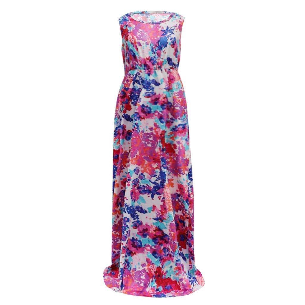 e69ebab95d21b Amazon.com: TnaIolral Women Dresses Sleeveless O-Neck Print Maxi ...