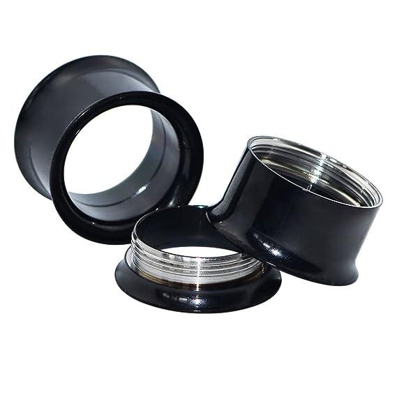 Longbeauty - 3 pares de pendientes de acero inoxidable para dilataciones, varios colores a elegir, StilB:Schwarz&Silber&Blau, 16 mm: Amazon.es: Deportes y ...