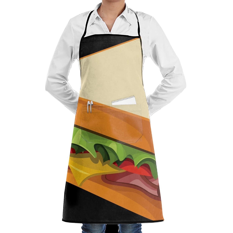 JONHBKD スタイリッシュなエプロン ポケット付き 丈夫 ポリエステル キッチン 料理 クリーニングエプロン Onesize yh_009_2268771  Cartoon Sandwich Png10 B07GQQ5YBB