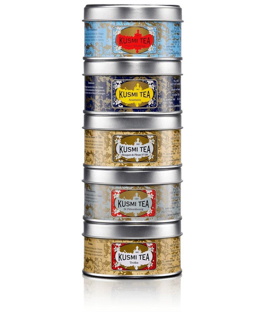 Kusmi Tea Russian Blend Tea Assortment - Enjoy Our Famous Earl Grey, Prince Vladimir, Anastasia, St. Petersburg, and Trokia Russian Variety (5 Tins)