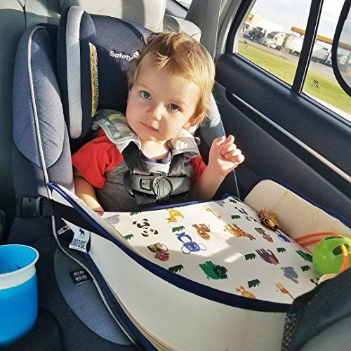 Amazon Toddler Car Seat Travel Tray By DMoose Reinforced Solid Surface Sturdy Side Walls Strong Buckles Mesh Pockets Waterproof Snack