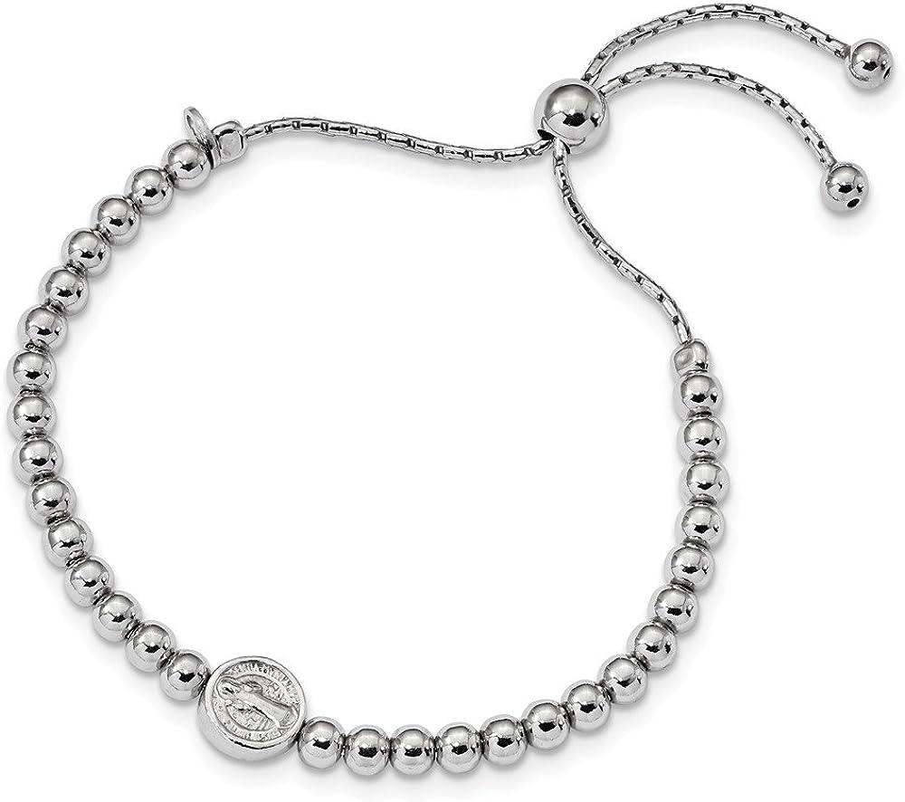 3.9mm Jewel Tie Sterling Silver Anklet Beaded Saint Medal 5in to 8.25in Bracelet 9