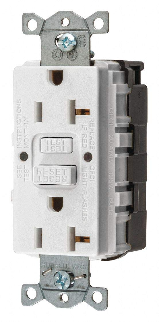 GFCI Receptacle, 20A, 125VAC, 5-20R, White by Hubbell Wiring Device-Kellems