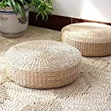 DUOSHIDA Japanese Style Handcrafted Eco-friendly Breathable Padded Knitted Straw Flat Seat Cushion, Hand Woven Tatami Cushion Best for Zen, Yoga Practice or Buddha Meditation (19.6'' X 4.2'')