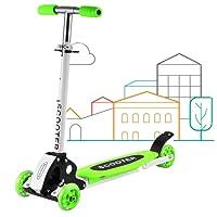 Qulista 3 Räder Klappbar Kinderroller Kickboard 2-16 Jahre Alt, 60kg belastbar, mitwachsende Lenkstange Kinder Scooter (Grün)