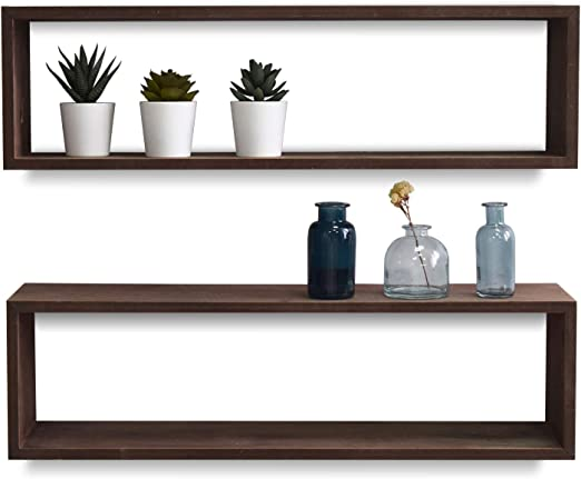 Wall Mounted Wood U-Shaped Floating Shelves Set of 3 Size Brown Home Office