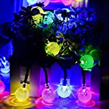 Outdoor String Lights 20 ft 30LED Solar Crystal Bubble Ball Waterproof Decorative Christmas Lights For Outdoor Indoor Garden,Home,Lawn,Tree (multicolored)