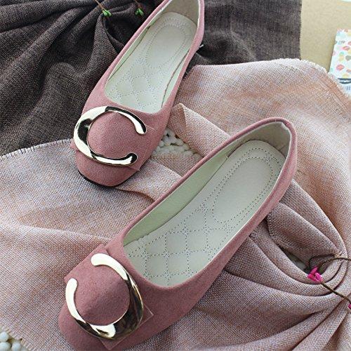 LEIT Mujer Zapatos Casual Hebilla Metálica Delgada Superficial Plana Boca Abajo Pink