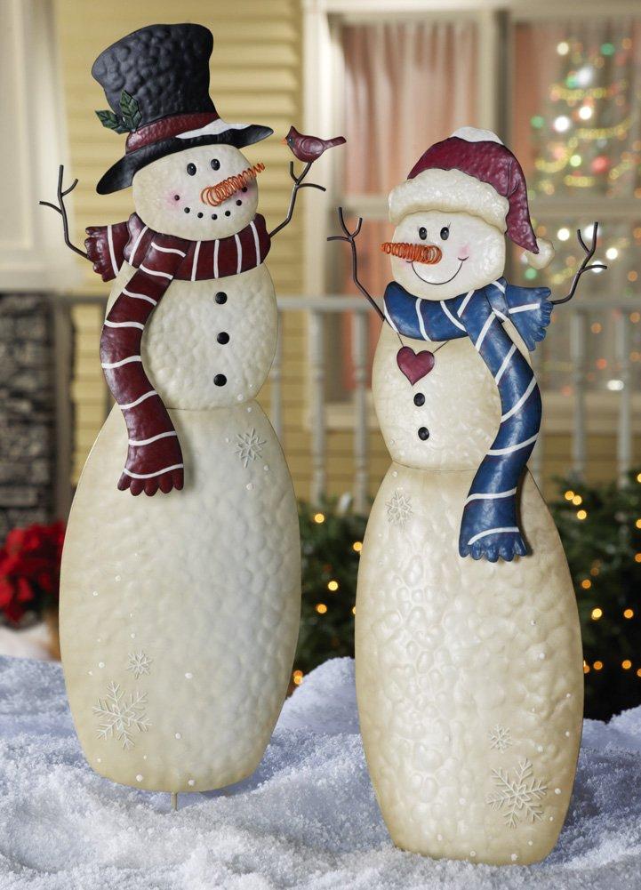 Amazoncom Christmas Snowmen Outdoor Garden Stakes Mr Snowman
