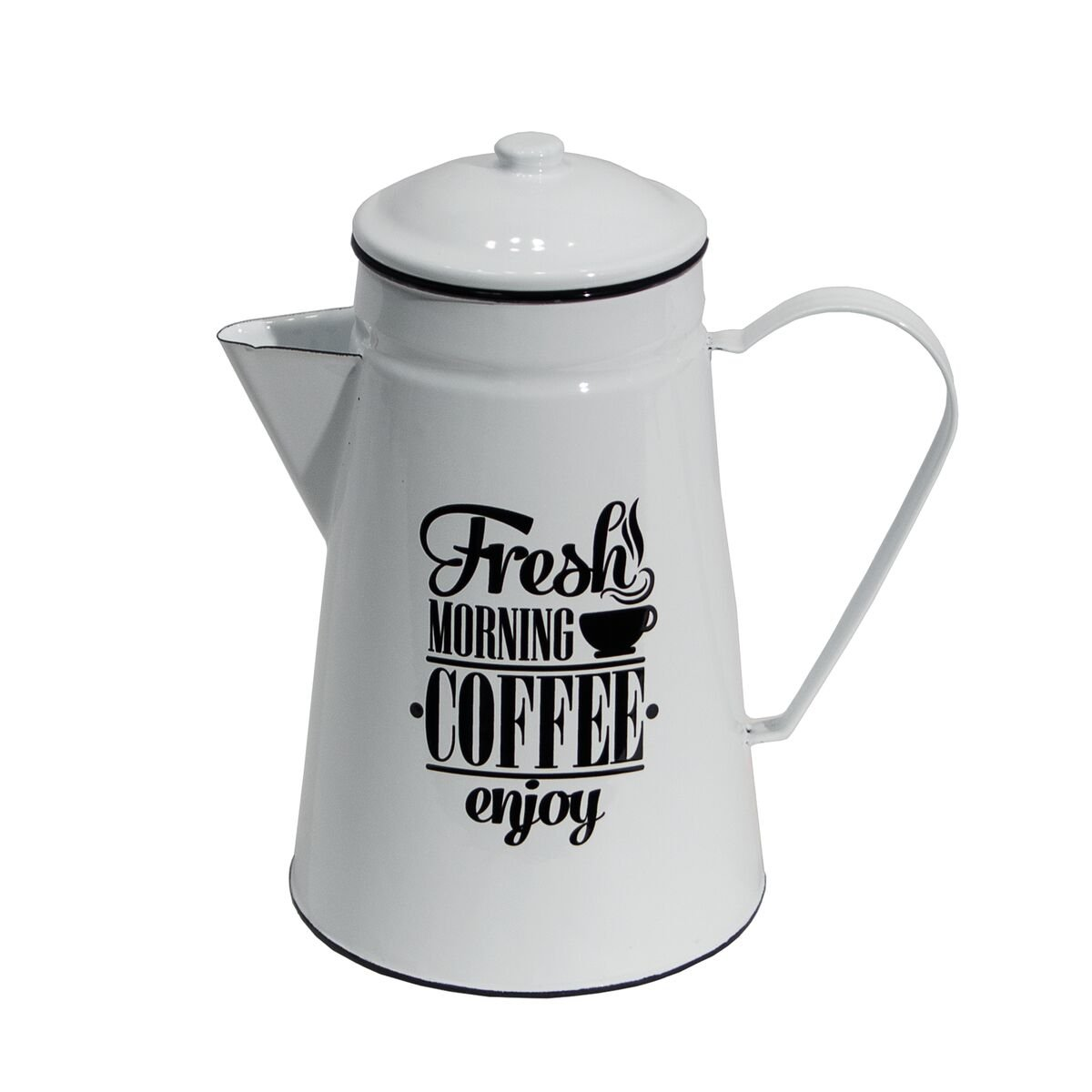 Vintage Inspired White Metal Enamel Decorative Coffee Pot with Black Trim and Lettering Fresh Morning Coffee' Enamelware Server