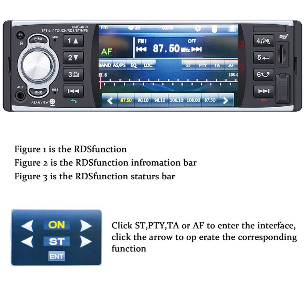 RDS FM MP3 TF USB AUX in Multim/édia Player avec cam/éra arri/èr 4 Pouces HD st/ér/éo,Mirrorlink pour t/él/éphone Android Radio Mains Libres St/ér/éo PolarLander Autoradio Bluetooth,RDS Radio Voiture