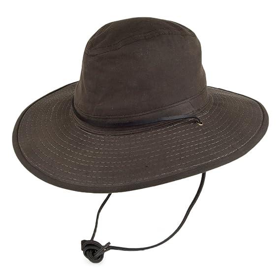 b3243c464e7 Dorfman-Pacific Hats Oil Cloth Waterproof Big Brim Safari Hat - Brown SMALL
