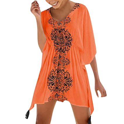 729d0edfb1 Amazon.com: Women's Dress Summer Sexy Off Shoulder Lace Shift Dress Lady  Half Sleeve Printed Swimsuit Beach Cover Up Dress Maoyou(Orange,Free Size):  Garden ...