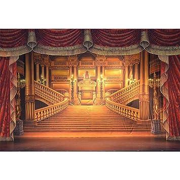 Amazon.com: Fotografía fondo rojo cortina oro palacio fondos ...