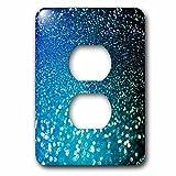 3dRose (lsp_266823_6) 2 Plug Outlet Cover (6) 2 Sparkling Ocean Blue Luxury Elegant Mermaid Glitter Effect Art Print