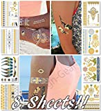 Metallic Temporary Tattoos for Women Teens Girls - 8 Sheets Gold Silver Temporary Tattoos Glitter Tattoo Designs Jewelry Tattoos - 100+ Color Flash Fake Waterproof Tattoo Stickers (Mustique)