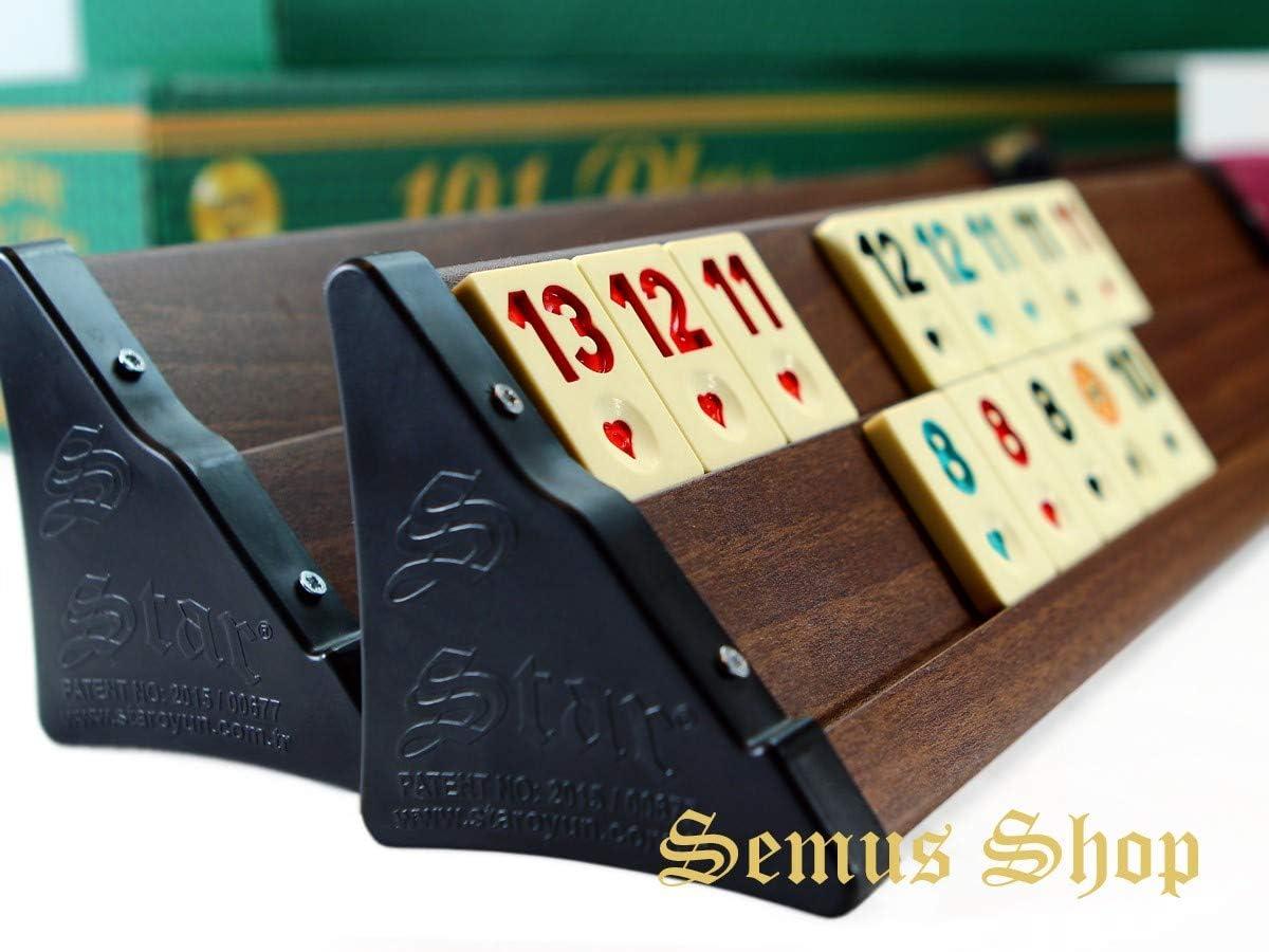Semus Wood Look Rummy Set Premium OKEY con piedras de melamina de pl/ástico OKEY TAKIMI