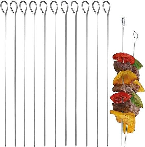 brochetas planas reutilizables PGFUN 10 x pinchos para barbacoa Pinchos para kebab de acero inoxidable 35 cm de largo 410 pinchos para barbacoa de metal con control deslizante