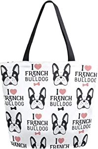 ZzWwR Cute Cartoon I Love French Bulldog Pattern Extra Large Canvas Market Beach Travel Reusable Grocery Shopping Tote Bag Portable Storage HandBags