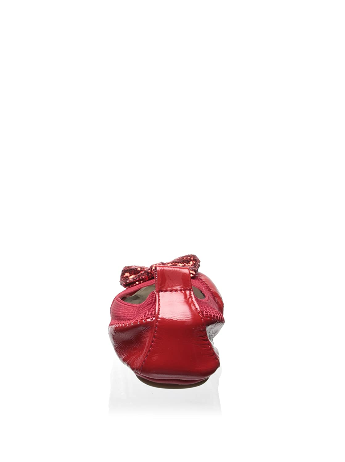Yosi Samra Patent Leather Bendable Ballet Flat with Red Chunky Glitter Bow 6C//Infant