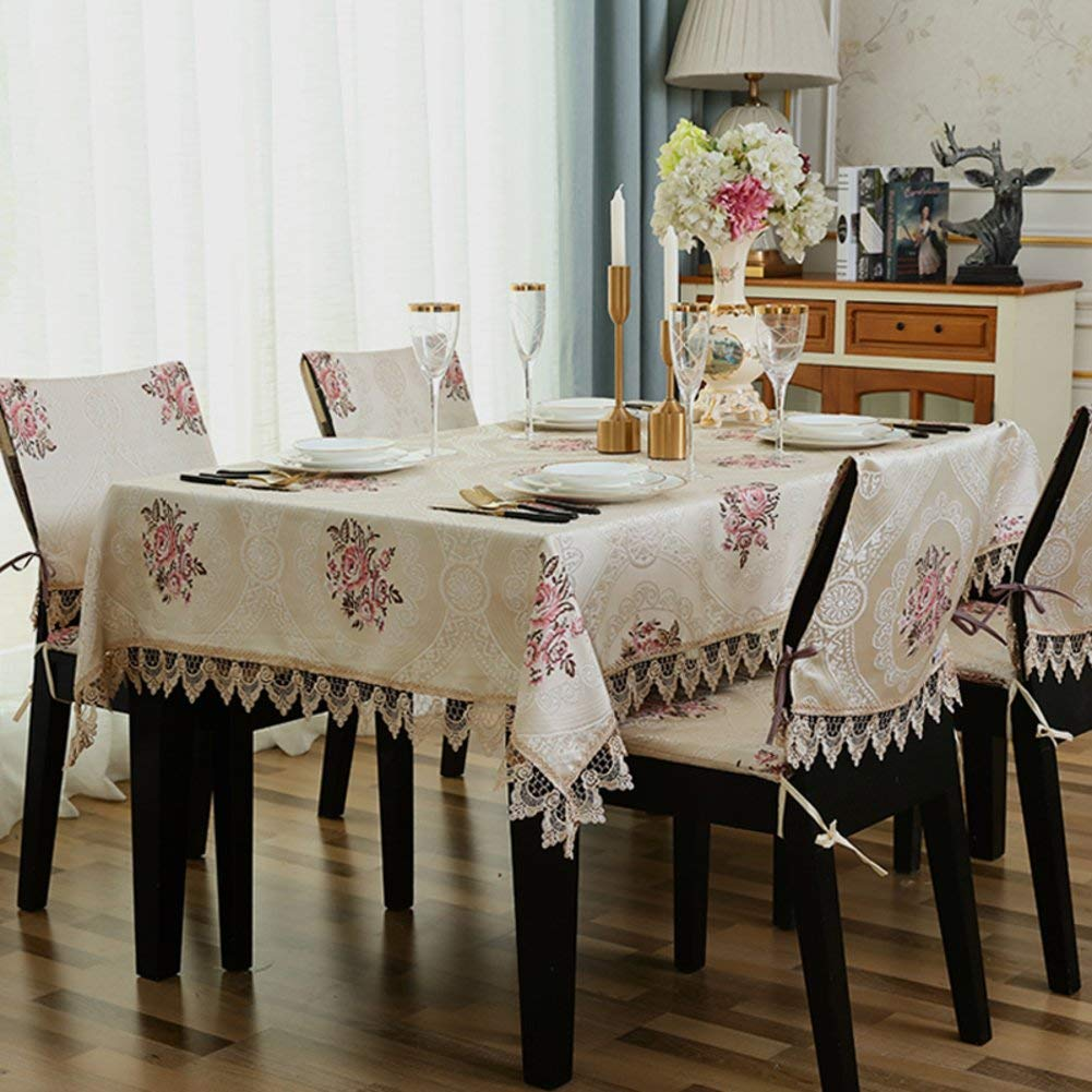 JJD 生地の長方形のテーブルクロスのテーブルクロス、パーティーホテルのレストランの台所のための防水汚れたカバー (Color : E, サイズ : 140x220cm(55x87inch))   B07RDBB3QC