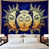 Amonercvita Psychedelic Tapestry Moon and Sun Tapestry Wall Hanging India Hippie Hippy Bohemian Tapestries Starry Sky Wall Tapestry Fractal Faces Mystic Tapestry for Bedroom Living Room Dorm