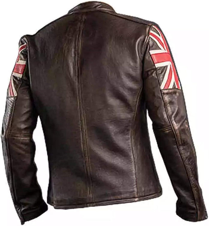 Cafe Racer Vintage UK Flag Brown Leather Jacket