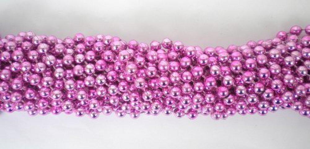 33 inch 7mm Round Metallic Pink Mardi Gras Beads - 6 Dozen (72 necklaces)