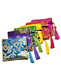 Gikfun Embroidered Jewelry Pouch Bag Coin Purses Xmas Gift Bag Zipper Pocket (Pack of 6PCS) EK8466C