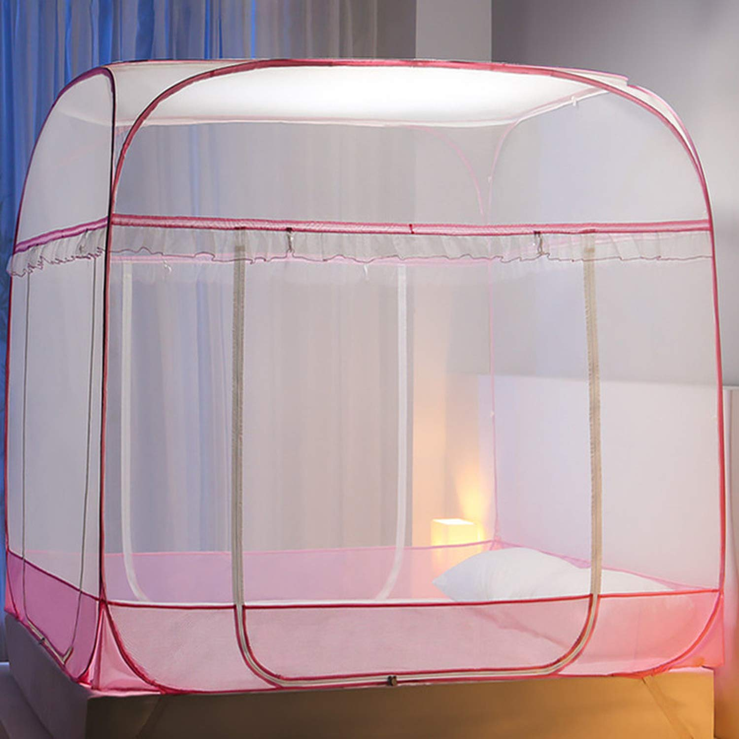 Large Space Mosquito Curtain Mesh Breathable Summer Mosquito Net Square Top Bed Net Home Decoration Bedding Tent,Pink No Bottom,1.2m (4 feet) Bed by SuWuan mosquito net (Image #3)