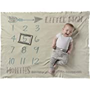 Primitives by Kathy Swaddle Blanket, Little Man Milestone Photo Prop Baby Boy Blanket, Soft Knit Pima Cotton, 42  x 36