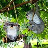 Accreate Cute Resin Simulation Koala Creative Animal Figurine as Garden Decor (Swing)