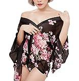 [Kuro&Ardor] レディース セクシー ナイトウェア コスプレ 衣装 ランジェリー ベビードール 花柄 透け 薄手 帯 リボン 着物 浴衣 ミニ