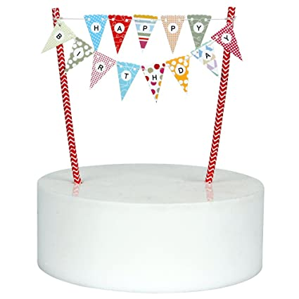 Amazon Mini Happy Birthday Cake Bunting Banner Topper